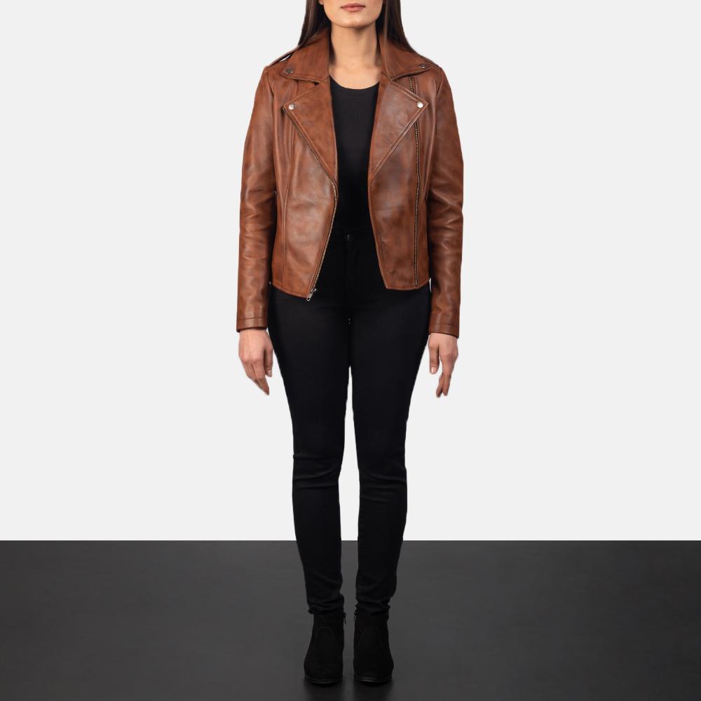 Women Slim fit Lambskin  Real Brown Aintique Leather Moto Biker Jacket-LD-02