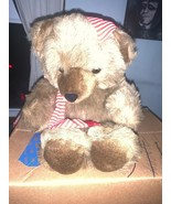 Galerie Au Chocolat Teddy Bear In Red Striped Cap Christmas Used - $29.69