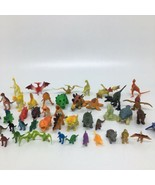 """48 Plastic & Rubber Toy Dinosaurs - 1"""" to 3 1/2"""" tall- Triceratops T-Rex - $23.36"""