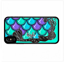 PERSONALIZED RUBBER CASE FOR iPHONE XR XS MAX X 8 7 6 PLUS MERMAID PURPL... - $13.98