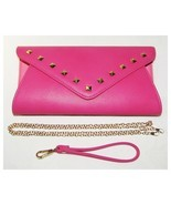 BMC Pink Faux Leather Convertible Clutch Handbag Chain Strap NEW - $19.98