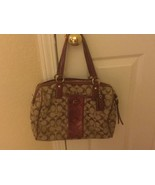 COACH LABELED & TAGGED WOMENS HANDBAG TAN WITH BURGUNDY LEATHER SNAKE SK... - $39.00
