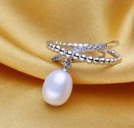 White Gold Plated White Drop Dangle Pearl Ring Adjustable