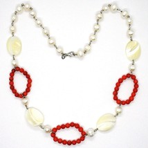 Necklace Silver 925, Circles Coral, Nacre Oval and White Pearls image 2