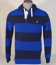 Polo Ralph Lauren Blue Stripe Hooded Long Sleeve Polo Shirt Men's NWT - $86.24