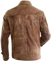 Mens Expendables 2 Jason Statham Lee Christmas Distressed Brown Leather Jacket image 3