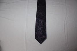 Alfani Black Necktie Purple Lavender Swirls Loops Silk Handmade Tie 3 1/... - $9.85