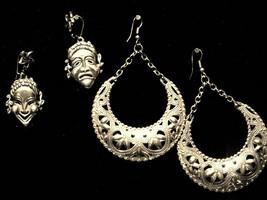 Two Pair Vintage Earrings Gold Color Beaded Hoop & Happy Sad Clown Face ... - $9.66
