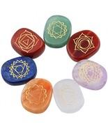 Rockcloud Healing Crystal 7 Chakra Stones Engraved Palm Pocket Worry Stone - $37.92
