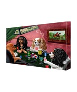 House of Cavalier King Charles Spaniels Dogs Playing Poker Canvas (16x20) - $98.01