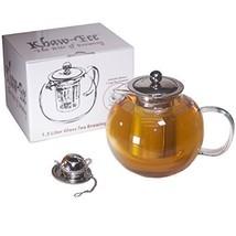Khaw-Fee Loose Leaf Tea Infuser 1.3 Liter Borosilicate Glass Pot and Sta... - $27.24