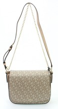 DKNY Donna Karan Khaki Canvas Embossed, Leather Trim Shoulder Bag Small ... - $188.09