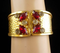 STUNNING Vintage Bracelet - red rhinestone Clamper - costume jewelry - s... - $85.00
