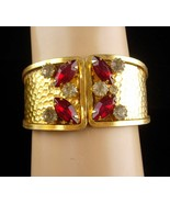 STUNNING Vintage Bracelet - red rhinestone Clamper - costume jewelry - s... - $85.00