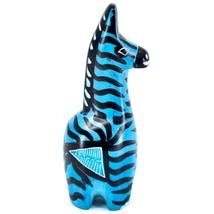Crafts Caravan Hand Carved Soapstone Striped Blue Giraffe Figurine Made Kenya