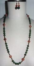VTG 14k Gold Filled Jade Goldstone Bead Necklace Earring Set - $99.00