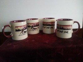 Set of 4 Collectible Eddie Bauer 2007 Sled Dog Coffee Mugs Cup Est. 1920 - $46.74