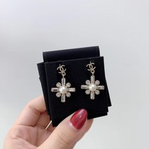SALE* NEW AUTHENTIC Chanel 2019 Gold CC Pearl Crystal Piercing Earrings RARE image 3