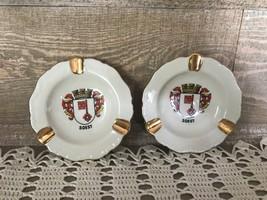 Vintage Porcelain Waldershof Bavaria Germany Soest Crest Ashtrays - $35.10