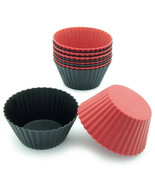 Black silicone round cupcake liners 12 pk baking cups red baking candy m... - $15.88