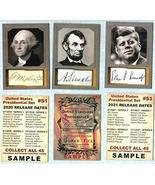 Presidential Portrait 3 Card SAMPLE Set Washington Lincoln JFK ACEO FACS... - $15.79