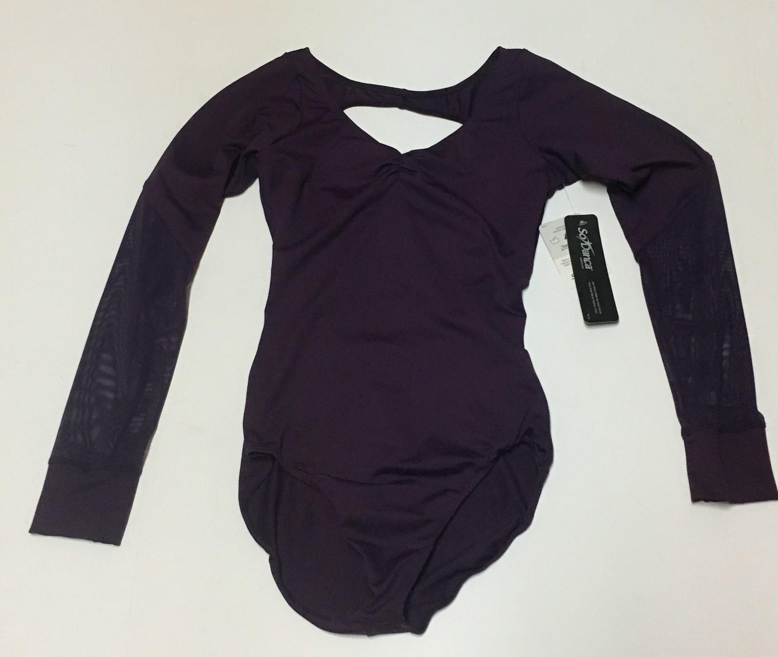 So Danca Long Sleeve Purple Leotard Dancewear NWT Sz 5M Lower Sheer Sleeves