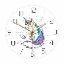 12in Unicorn Kids Wall Clock Magical Rainbow Children Colorful Room Deco... - $47.68+