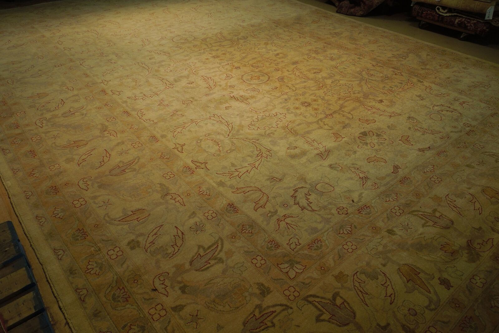 New Vintage Look Perfect Chobi Hand-Knotted 12x18 Beige Oushak Wool Rug image 11