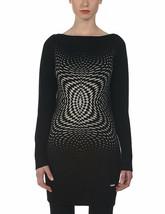 Bench Femmes Noir Gris Op Optique Art Harniss Tricot Robe Pull BLSA1585 Nwt