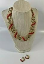 c.1987-99 Trifari Rope Red Enamel Gold Tone Choker Necklace w/Earrings 2... - $66.27