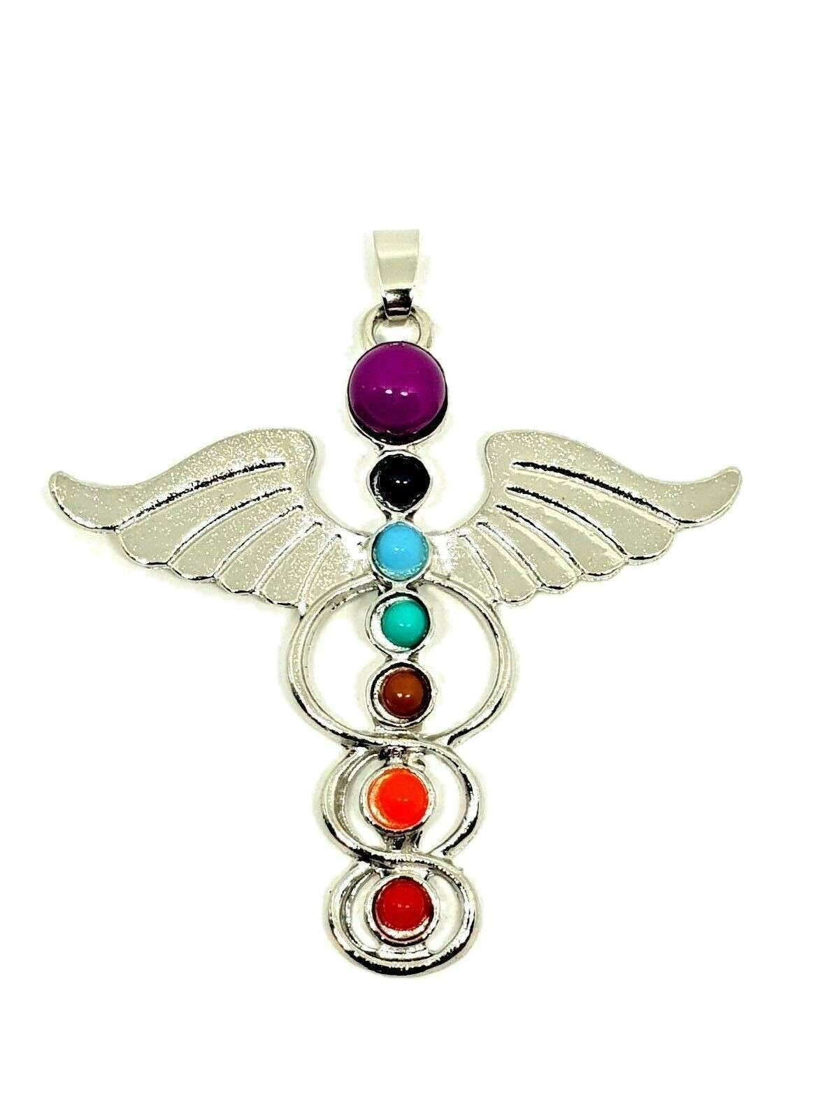 Hermes Winged Beautiful Chakra Silver Tone Guardian Angel Wing Pendant Gift image 4