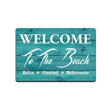 """Tin Sign for Beach House Decor 12""""x 8"""" Welcome to the Beach Relax Unwind - $12.95"""