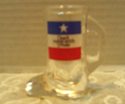 "Vintage ""Don't Mess With Texas"" Glass Cowboy Boot Shot Glass Red White Blue - $7.35"