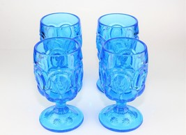L. E. Smith Blue Moon and Stars Wine Water Goblets Set of 4 Glass Vintag... - $59.40