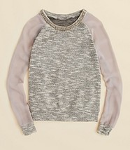 Necessary Objects Girls' Embellished Collar Sweatshirt, Gray, Size S, MS... - $23.36