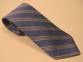 """Brooks Brothers 100% Silk Tie Italy Woven Blue  White Black Stripes 58"""" - $24.18"""