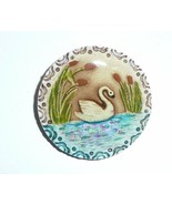 """Wonderful Art Stone Resin Top Swan Button Hand Painted Swan On Water 1-3/8"""" - $14.84"""