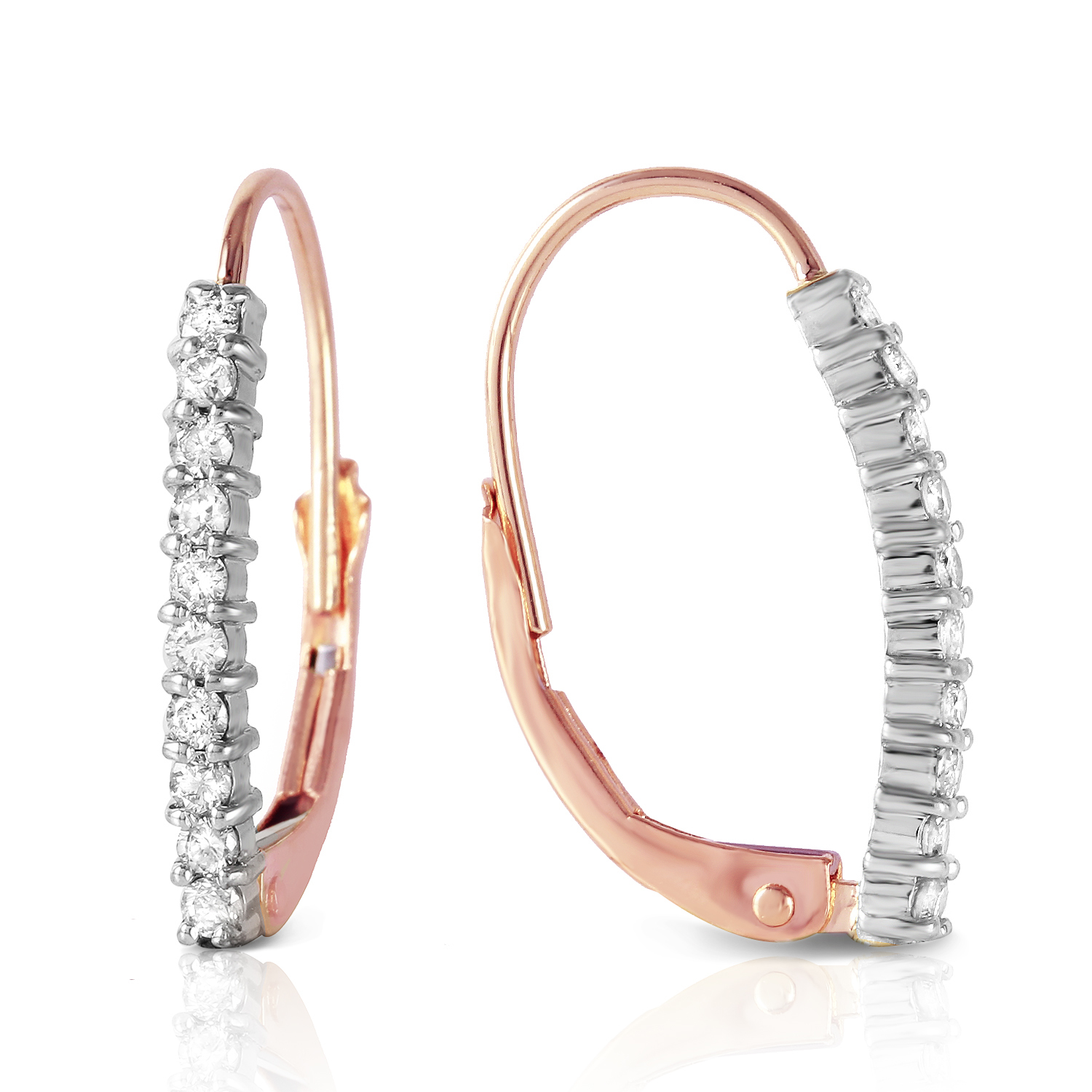 Primary image for 14K Solid Rose Gold Leverback Earrings withNatural Diamonds