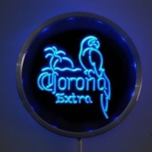 Neon  Round Sign LED Corona Extra Parrot Red,Green, Blue   - $59.99