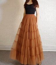 A Line Layered Tulle Skirt Full Long Layered Ruffle Tulle Skirt Brown image 3