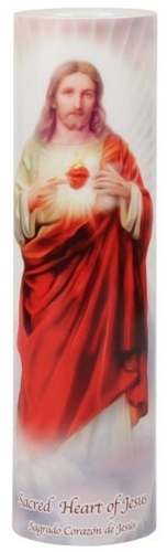 Sacred heart of jesus   led flameless devotion prayer candle