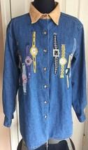 Bobbie Brooks Denim Long Sleeve Button Up Shirt W/ Watches Sequins Women's S 4/6 - $17.81