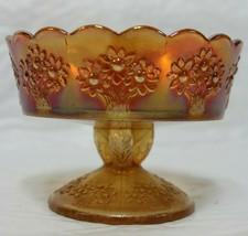 "Fenton Orange Tree Marigold Carnival Glass Twig Stemmed Bowl 3"" Sherbet Dish - $24.99"