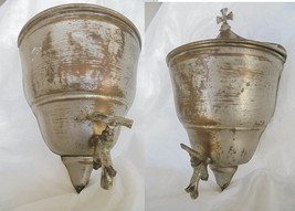Religious Holy water font STOUP in metal with tap Original 1940s - $69.00