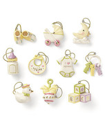 Lenox Baby Memories Miniature Ornaments Tree Set 10 Shower Gift Decorati... - $79.49