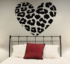 ( 47'' x 39'') Vinyl Wall Decal Leopard Skin Heart Shape / Animal Skin Print Art - $53.79