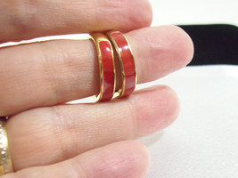 NAPIER RED Enamel Gold Plate Hoop Clip on Earrings Comfort Clip Vintage ... - $11.87