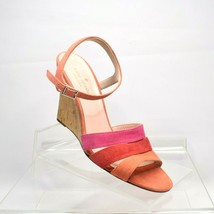 Kate Spade Women 7 Sandals Tamara Suede Strappy Wedge Pink Red Orange with Bag - $70.11