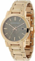 Burberry BU9005 Large Check Rose Gold Swiss Made Womens Watch - $301.37 CAD