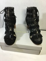 Marc Fisher Black Suede Paradox 10W Strappy Back Zip Dress Sandal Shoes - $27.12